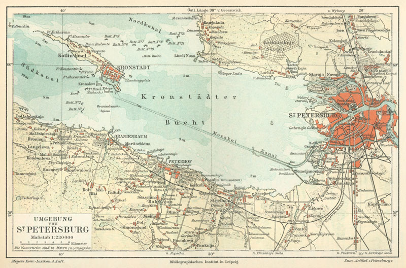 1888 German map of Saint Petersburg and Kronstadt